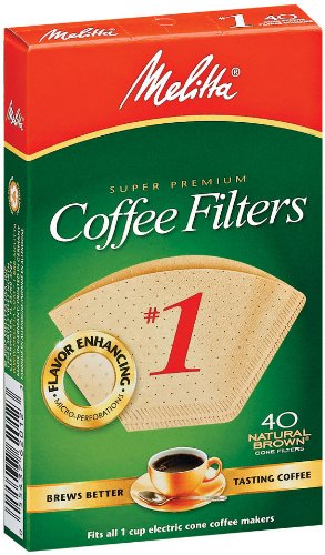 Melitta 620122 #1 40 Count Natural Brown Cone Coffee Filters, - Over 40 Housewives