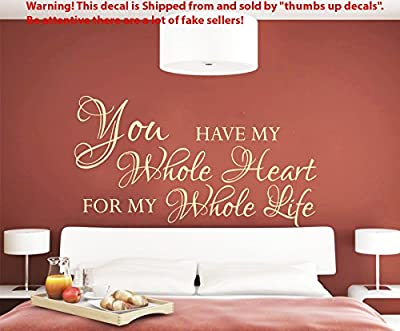 Love Wall Decals You Have My Whole Heart for My Whole Life Quote Decal Vinyl Stickers Home Bedroom Decor T90