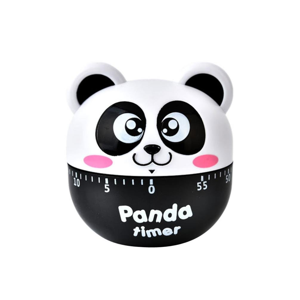 LiPing Cute Panda Kitchen Timer Kitchen 60 Minute Cooking Mechanical Home Decoration For Kitchen, Homework, Exercise, Game (Black)