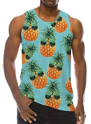 Mens Beach Tank Top Blue Pineapple 3D Print Gym Undershirts Novelty Sleeveless Loose Fit Hawaiian Tropic Pattern Casual Teen Boys Vest Tee Clothing M