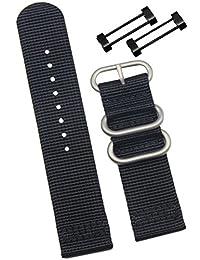 24mm Black Deluxe Premium Sturdy Exotic Nylon Sport Men's Wrist Watch Band Wristband for SUUNTO Watch