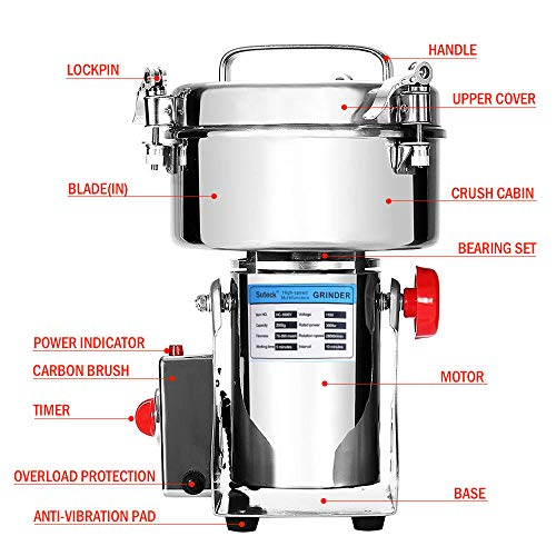 Electric Grain Grinder Mill 2000g Powder Machine High Speed Commercial Swing Type Grinder Machine for Herb Pulverizer Grinding Various Grains Spice by Suteck (Image #2)