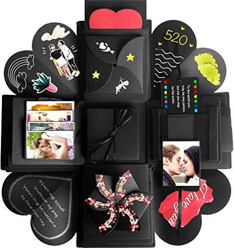 Wanateber Creative Explosion Gift Box, DIY - Love Memory, Scrapbook, Photo Album Box, as Birthday Gift, Anniversary Gifts, Wedding or Valentine's Day Surprise Box (Black) (Good 1 Year Wedding Anniversary Gifts For Him)