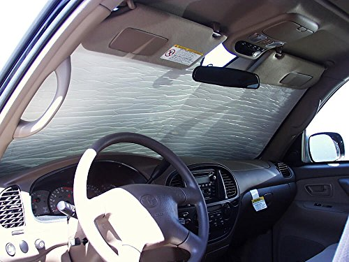 The Original Windshield Sun Shade, Custom-Fit for Toyota Sequoia SUV 2001, 2002, 2003, 2004, 2005, 2006, 2007, Silver Series ()