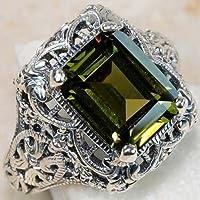 Women Fashion 5CT Peridot 925 Silver Ring Wedding Engagement Bridal Jewelry by khime (10)