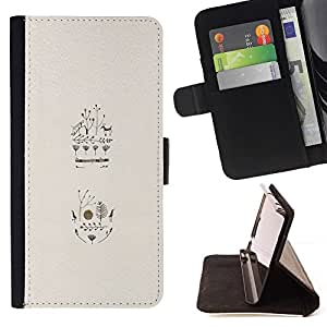 For Samsung Galaxy J3(2016) J320F J320P J320M J320Y Case , Pájaros Flores Árboles ciervos minimalista Beige- la tarjeta de Crédito Slots PU Funda de cuero Monedero caso cubierta de piel