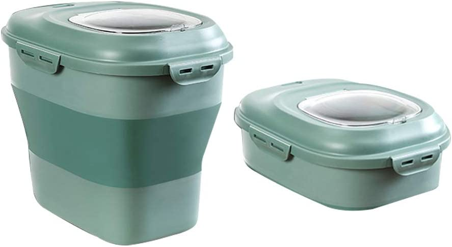 JIAYONG Pet Food Storage Container Large, Foldable Airtight Dog Cat Storage Bin with Wheels and Lids, Rice Container Bucket Tank with Measuring Cup