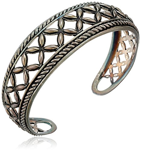 Sterling Silver Bali Inspired Open Marquis Roped Edge Design Cuff Bracelet