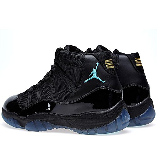 new product 62807 92188 ... Nike Herren Air Jordan 11 Retro Leder Basketballschuhe Schwarz   Gamma  Blau ...
