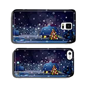 Vector winter night landscape with houses and Christmas tree. cell phone cover case iPhone6