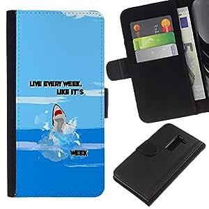 All Phone Most Case / Oferta Especial Cáscara Funda de cuero Monedero Cubierta de proteccion Caso / Wallet Case for LG G2 D800 // Week Ocean Funny Cartoon Blue