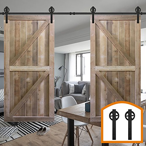 HomeDeco Hardware 12 FT Rustic Style Sliding Running Wood Barn Door Rolling Antique Hardware Wheel Flat Tracks Double Doors Kit by HomeDeco Hardware