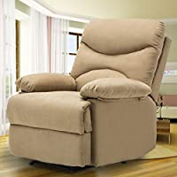 SUNCOO Microfiber Recliner Sofa Chair Ergonomic Lounge Heated w/Control (Brown)