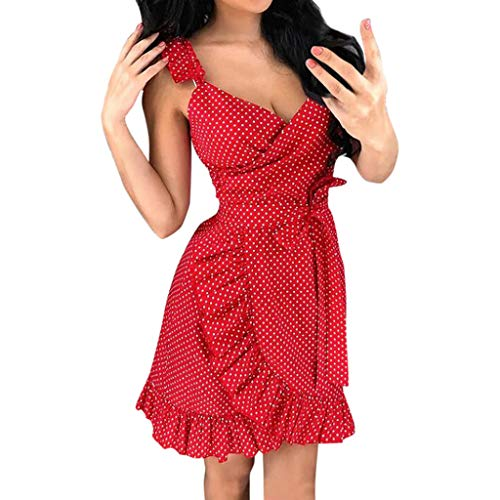 Aniywn Women Casual Summer Dot Printed Sleeveless Ruffles Beach Dress Sundress Sleeveless V-Neck Min Dress Red