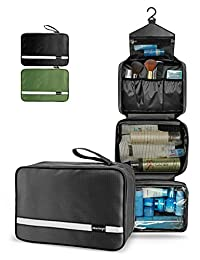 Maxchange Travel Toiletry Bag with 6.8L Large Capacity, Hanging toiletry bag with 4 Compartments for Travel, Compressible Hangable and Portable Waterproof Travel Kit for Men and Women, Travel Bathroom Organizer (Black)