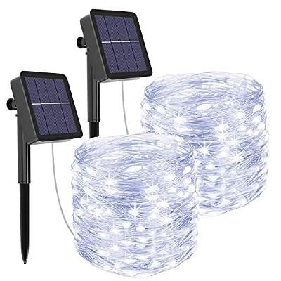 Solar Lichterkette Aussen, Litogo 12M 120 LED Lichterkette Außen Wasserdicht KupferDraht 8 Modus Solarlichterkette Deko…