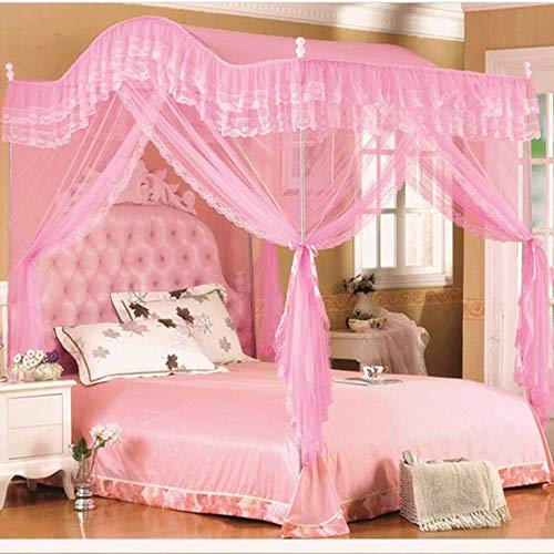 Mengersi Arched 4 Corners Post Bed Curtain Canopy Net Square Princess Fly Screen, Indoor Outdoor (Full, Pink)
