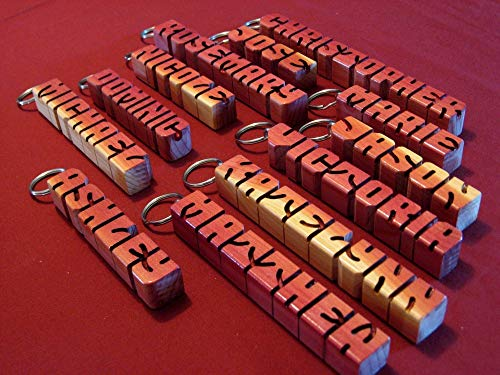 Personalized Wooden Ring - Hand carved personalized wooden keychain - wood letters - desk name - ornament - customized gift