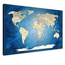 LanaKK Blue Ocean World Map on Cork Board Base, World Map Canvas on Cork Board, Size XXL, Grey, Black and White, Ready-Framed, blue, 60 x 40 cm, one part by LanaKK