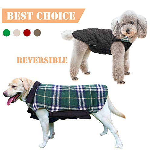 (IREENUO Pet Dog Jackets Windproof Warm Coats - Snug British Style Plaid Reversible Vest Clothes Autumn Winter Padded Waistcoat Chest Protector Suitable for Small Medium Large Dogs (XS-3XL) Green)