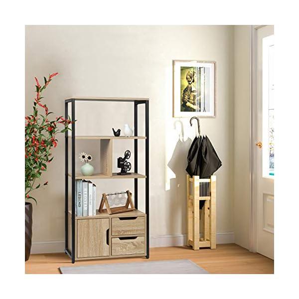 WOLTU RGB09hei Étagère de Rangement avec Armoire et tiroirs,étagère de Cuisine étagère de Bureau en métal et MDF…