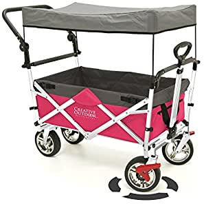 folding wagon for kids beach foldable canopy with sun rain shade hot pink. Black Bedroom Furniture Sets. Home Design Ideas