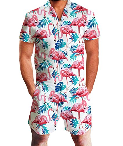 Idgreatim Men 3D Graphic Flamingos Beach Rompers Casual Shorts Zipper Jumpsuit One Piece Romper Overall Outfits S