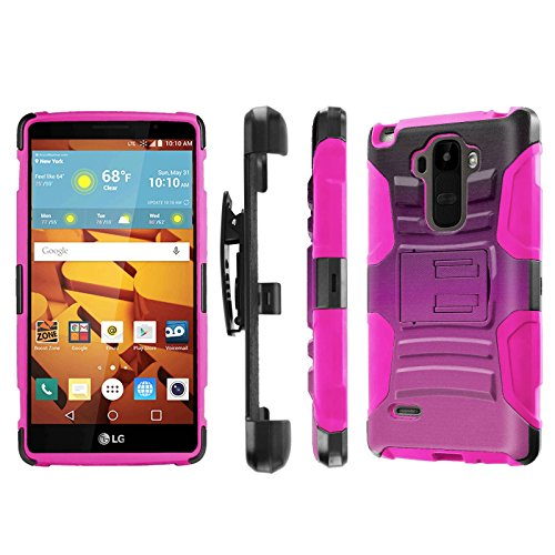 LG G Stylo [LS770 H631] Armor Case [NakedShield] [Black/Pink] Heavy Duty Armor [Holster with Kickstand] Phone Case - [Gradient Hot Pink] for LG G Stylo LS770 -  NakedShield for LG G Stylo, P-LGLS770-1E7-BKHP-CBT-N167