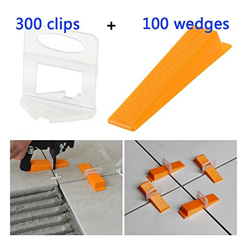 Top Home Dec Tile Leveling System DIY Tiles Leveler Spacers - 300-Piece Leveling Spacer Clips Plus 100-Piece Reusable Wedges (Spacer Clips)