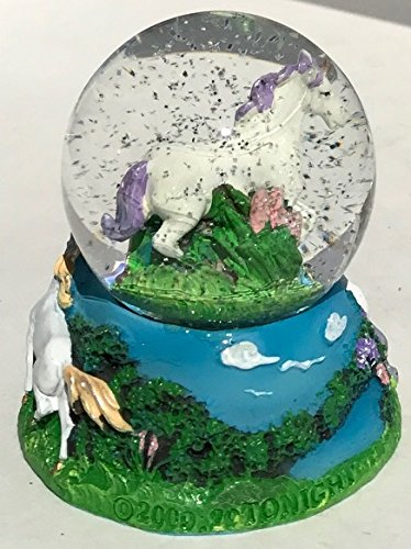 Miniature 2 Inch Unicorn and Rainbow Snow Globe Glitterdome by Think Crate