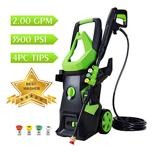 Watty 3500 Psi 2 0 Gpm Electric Pressure Washer Electric Power Washer With 4 Quick Connect Spray Tips Portable Car Wash Machine Cleaning Assistant Helpful Helper For Household Cleaning Tasks