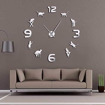 Kuletieas Romano Árabe Digital Mix DIY Reloj de Pared Grande Hello Kitty Silueta Arte de Pared Reloj de Pared Gigante Diseño Moderno Decoración para El ...