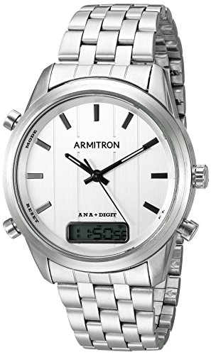 Armitron Men's 20/5125SVSV Analog-Digital Chronograph Silver-Tone Bracelet Watch