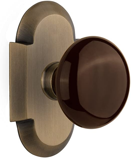 Nostalgic Warehouse Mission Plate with Keyhole Double Dummy Brown Porcelain Door Knob in Timeless Bronze