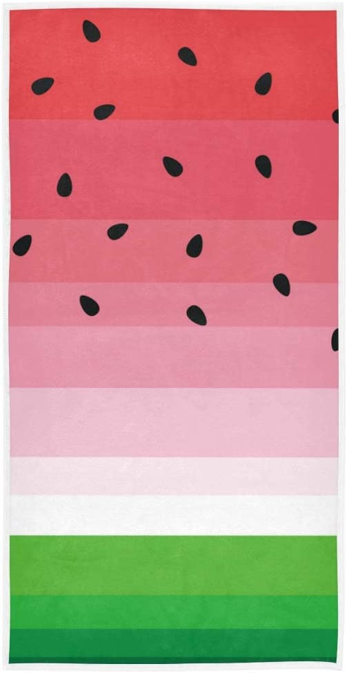 VIKKO Pink Watermelon Black Seeds Hand Towel 30x15 Inch Washcloths Polyester Fingertip Towel with Single-Sided Printing for Home Hotel Bathroom Decoration