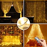 MCvilla LED Window Curtain Lights, 9.8ftx9.8ft Cord String Lights 300LEDs Dimmable Timer 8 Modes USB Powered Waterproof Twinkle Fairy Starry Lights Wedding Party Bedroom Wall Decor,No Plug Included