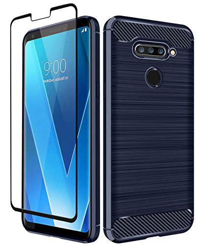 LG V40 Case, LG V40 ThinQ Case, Aoways Tempered Glass Screen Protector, Thin Texture Carbon Fiber Shockproof Soft TPU Lightweight Protective Cover for LG V40 - Navy Blue