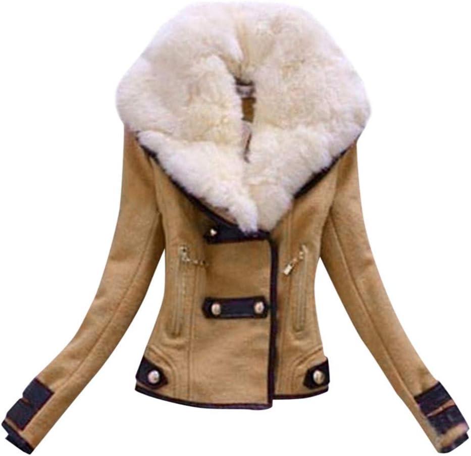 Women Faux Suede Short Jacket Nevera Fashion Design Slim Fit Moto Biker Jacket Coat with Detachable Faux Fur Collar