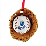 Kurt Adler Major League Baseball Kansas City Royals Baseball in Glove Christmas Ornament