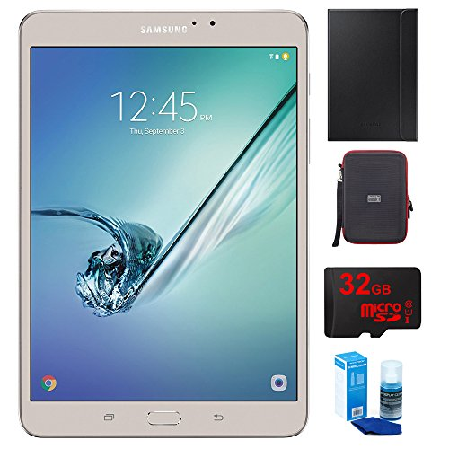 Price comparison product image Samsung Galaxy Tab S2 8.0-inch Wi-Fi Tablet 32GB Gold (SM-T713NZDEXAR) with Galaxy Tab S2 8.0 Cover, PocketPro XL Hardshell Case for Tablets, 32GB MicroSD Memory Card & Universal Screen Cleaner