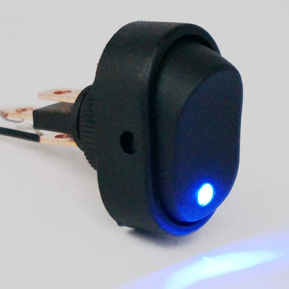 Twidec//4Pcs 12V 30A SPST 3 Pin On-Off 4 Colour Round Dot LED Light Push Button Rocker Toggle Switch For Car ASW-20D-4C