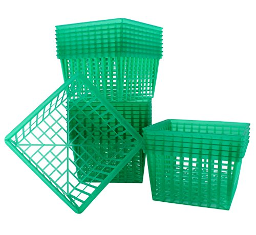 May Day Baskets (24-Pack Quart Size Plastic Berry Baskets; 5 ½-Inch Green Berry Boxes w/Open-Weave Pattern; Ideal for Berries, Fruit, Vegetables & Craft)