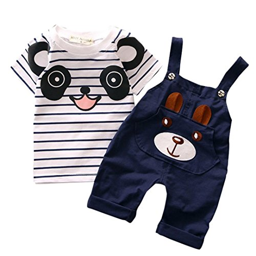 Toddler Baby Bib Pants Overall Set,Cute Little Bear Stripe Short-Sleeve Top T Shirt Straps Romper Pocket 0-4Years (Navy, ()