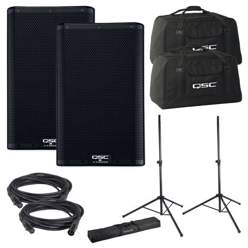QSC K12.2 Powered Speakers & Totes w/ Gator Stands