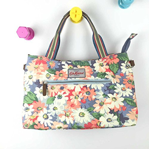 Cath 15SS Handbag Pastel Detachable Zipped Painted Strap Oilcloth Matt Daisy Kidston with rOPwrZq