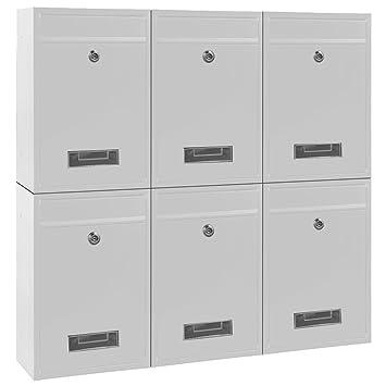 Briefkasten Wandbriefkasten Briefkastenanlage Postkasten Stahl weiß
