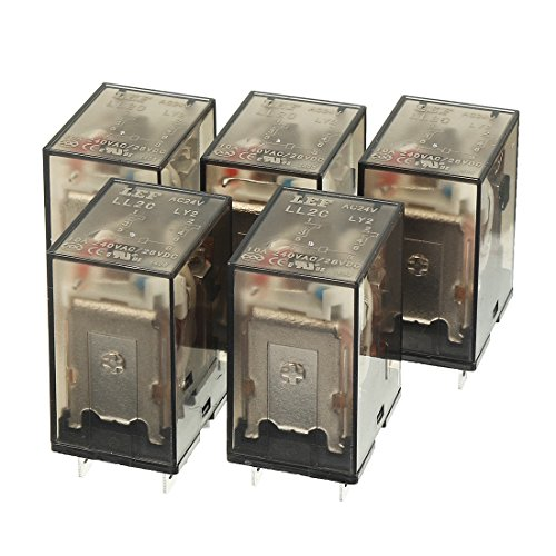 12v Ac Dpdt Relay - uxcell 5Pcs AC 24V Coil DPDT 2NO+2NC 8P Power Electromagnetic Relay DIN Rail/PCB Mounted 240VAC/28VDC 10A with Indicator Light