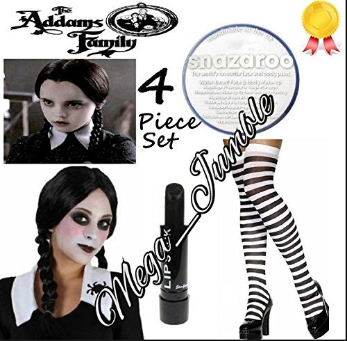New Ladies Halloween Costume Accessories THE ADDAMS FAMILY Plaints Wig White Face Paint Black Lipstick and Over the knee Socks Fancy Dress Costume Accessories (Mega_Jumble) by Mega_Jumble (Mega Fancy Dress Costumes)