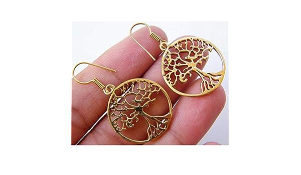 Surbhi Crafts Tree of Life Earring Tribal Earring AH-10381 Boho Dangle Earring Fashion Earring Gold Tone Brass Earring