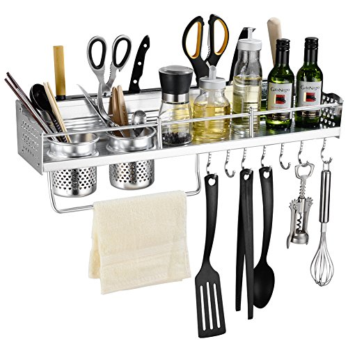 Floating utensil storage shelf, rack and hook system
